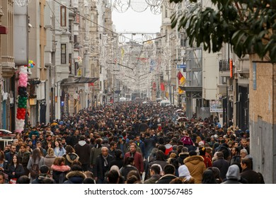 Istanbul, Turkey; January 20, 2018: Massive crowd of people view from Istiklal Street
