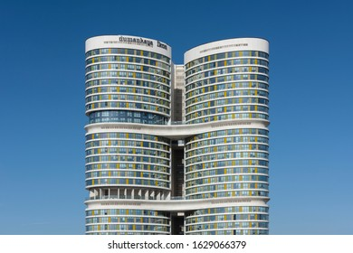 ISTANBUL, TURKEY - JANUARY 25, 2020: Dumankaya Ikon Residence building, one of Istanbul's highest towers on the Asian side, 147m tall, 41-floored 3 united towers.