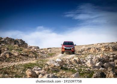 Istanbul, Turkey - January 27 2021 : Mitsubishi L200 is a compact pickup truck produced by Mitsubishi Motors.