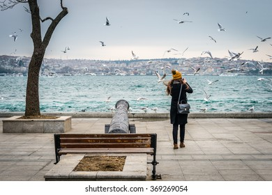 Istanbul, Turkey - January 28, 2016: Turkish girl from the back is photographing seagulls in Besiktas, Istanbul