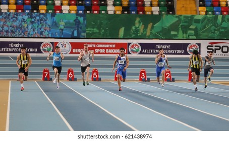 ISTANBUL, TURKEY - JANUARY 28, 2017: Athletes running 60 metres during Turkish Athletic Federation Indoor Olympic Record Attempt Races