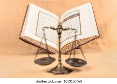Istanbul, Turkey - January 28, 2018; Quran - holy book of Muslims around the world. Concept of Quran and Justice .