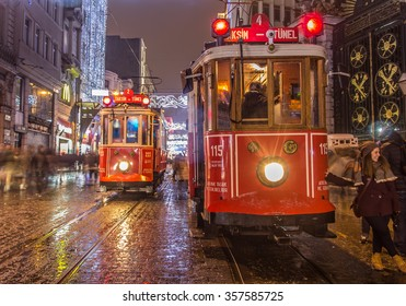 ISTANBUL, TURKEY - January 3: Taksim Istiklal Street at night on January 3. 2016. in Beyoglu, Istanbul, Turkey. Taksim Istiklal Street. Best Street from Istanbul there is rainy and snow