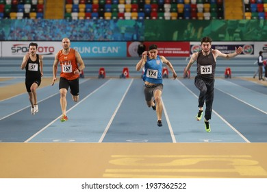 ISTANBUL, TURKEY - JANUARY 30, 2021: Athletes running 60 metres during Turkish Athletic Federation Olympic Threshold Competitions