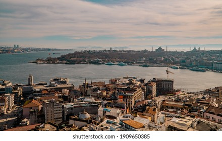 Istanbul, Turkey - January 31, 2021 - aerial panoramic view of Sultanahmed with the Bosporus, Topkapi Palace, Hagia Sophia, and Blue Mosque seen from Galata Tower