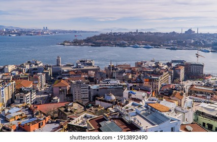 Istanbul, Turkey - January 31, 2021 - panorama aerial panoramic view of Sultanahmet with the Topkapi Palace, the Hagia Sophia Grand Mosque, and the Sea of Marmara