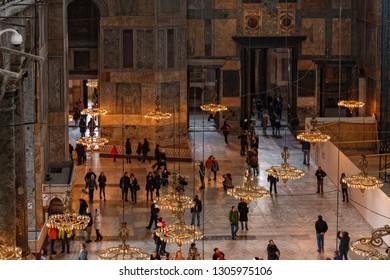 ISTANBUL, TURKEY, JANUARY 6, 2015: Inside the Haghia Sophia Mosque in Istanbul