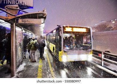ISTANBUL, TURKEY - JANUARY 6, 2017: Eyup district in istanbu. Metrobus, a part of public transportation system, eases the traffic in Istanbul on JANUARY 6, 2017 in Istanbul, Turkey