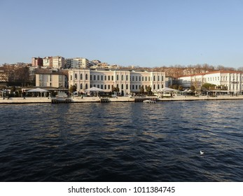 ISTANBUL, TURKEY - JANUARY 6 2018: Besiktas High School. Along the Bosphorus. View of the European side of Istanbul from the ship. Turkey