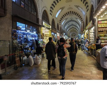 ISTANBUL, TURKEY - JANUARY 6 2018: The Spice Bazaar (Egyptian Bazaar) - one of the largest bazaars in the city