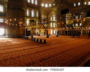 ISTANBUL, TURKEY - JANUARY 6 2018: Interior and design of Blue Mosque (Sultan Ahmed Mosque) in the historic area of Istanbul