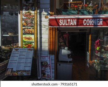 ISTANBUL, TURKEY - JANUARY 6 2018: Streets and buildings of Istanbul (Constantinople, Byzantium), the most populous city in Turkey
