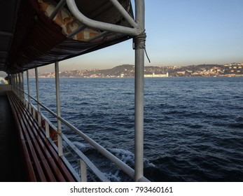 ISTANBUL, TURKEY - JANUARY 6 2018: Along the Bosphorus. View of the Asian side of Istanbul from the ship. Turkey