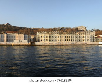 ISTANBUL, TURKEY - JANUARY 6 2018: Galatasaray University Foreign Language Courses. Along the Bosphorus. View of the European side of Istanbul from the ship. Turkey
