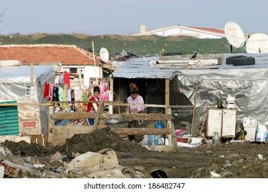 ISTANBUL, TURKEY - JANUARY 8: Gypsies people at Silivri Gypsy Camp on January 8, 2008 in Istanbul, Turkey.