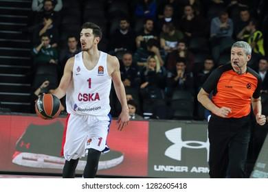 Istanbul / Turkey - January 9, 2019: Nando De Colo and referee Luigi Lamonica during EuroLeague 2018-19 Round 17 basketball game Darussafaka Tekfen vs CSKA Moscow at Volkswagen Arena.
