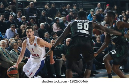 Istanbul / Turkey - January 9, 2019: Nando De Colo and Michael Eric in action during EuroLeague 2018-19 Round 17 basketball game Darussafaka Tekfen vs CSKA Moscow at Volkswagen Arena.