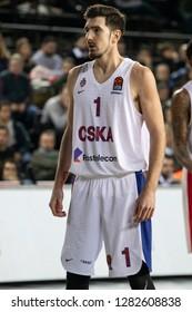 Istanbul / Turkey - January 9, 2019: Nando De Colo during EuroLeague 2018-19 Round 17 basketball game Darussafaka Tekfen vs CSKA Moscow at Volkswagen Arena.