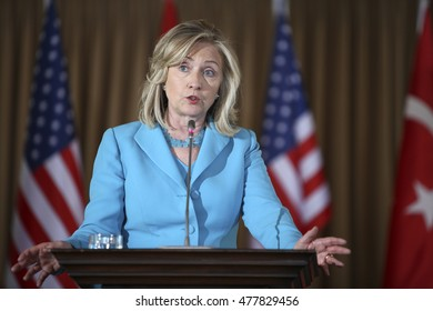 Istanbul, Turkey - Jully 16, 2011 : US Secretary of State Hillary Clinton talks to the press after meeting the Turkish Foreign Minister Ahmet Davutoglu on.