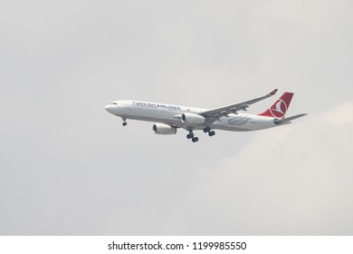 ISTANBUL, TURKEY - JULY 01, 2018: Turkish Airlines Airbus A330-343X (CN 1298) landing to Istanbul Ataturk Airport. THY is the flag carrier of Turkey with 338 fleet size and 300 destinations