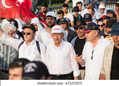 ISTANBUL, TURKEY - JULY 03: Opposition party leader Kemal Kilicdaroglu is walking for justice on July 03, 2017 in Istanbul, Turkey.