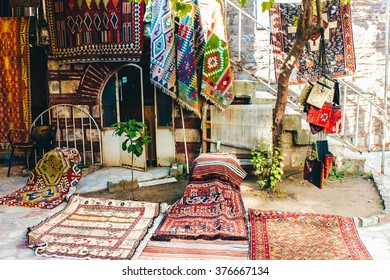 ISTANBUL, TURKEY - JULY 06 2012: East ethnic souvenir carpet  shop in the Sultanahmet district