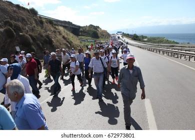 ISTANBUL, TURKEY - JULY 06: Opposition party leader Kemal Kilicdaroglu is walking for justice on July 06, 2017 in Istanbul, Turkey.