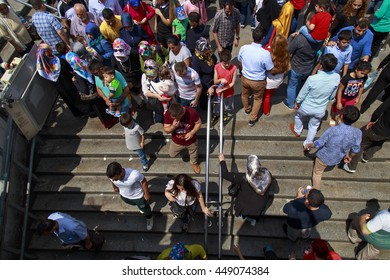 Istanbul, Turkey - July 07, 2016: Very crowd square view from the Istanbul because of the Islamic Holiday named as Ramadan Bayrami