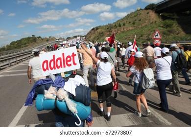 ISTANBUL, TURKEY - JULY 07 : Opposition party leader Kemal Kilicdaroglu is walking for justice on July 06, 2017 in Istanbul, Turkey.