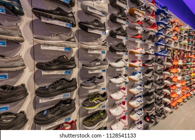 Istanbul, Turkey - July 1, 2018 ; A shoe stand in a sports shoe store. Various collections of new Skech - Air shoes displayed in sports shop. Istanbul Turkey.