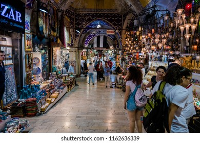ISTANBUL, TURKEY - JULY 10, 2017: Grand Bazaar  in Istanbul, Turkey. It is one of the largest and oldest covered markets in the world