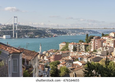 ISTANBUL, TURKEY, JULY 10, 2017: Wide angle view of Bosphorus and Bosphorus Bridge from the hilltop of Kuzguncuk, small town at the coastline of Bosphorus, Istanbul.