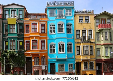 ISTANBUL, TURKEY JULY 10 2017: Colorful Houses in old city Balat. July 10 in Istanbul, Turkey.