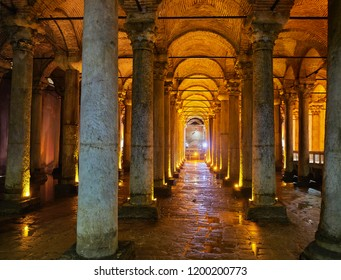Istanbul, Turkey - July 10, 2018. Colonnade perspective of subterranean Basilica Cistern also known as Yerebatan Sarnici. Istanbul, Turkey.