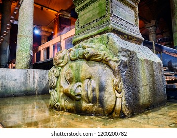 Istanbul, Turkey - July 10, 2018. Sideways head of Medusa located at the northwest edge of the subterranean Basilica Cistern, also known as Yerebatan Sarnici. Istanbul, Turkey.
