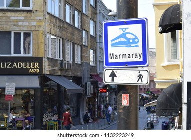 "ISTANBUL, TURKEY - JULY 11, 2018: Direction sign for ""Marmaray"", a rail tunnel under the Bosphorus"