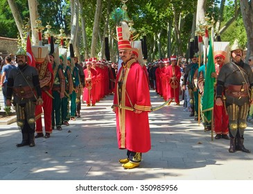 ISTANBUL, TURKEY - JULY 12, 2014; The show of the Mehter orchestra in the First Courtyard of Topkapi Palace. Mehter is the Ottoman military band complected from the yanychar solgies. Istambul, Turkey