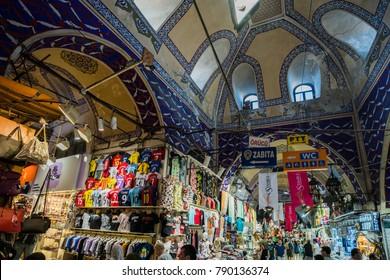 ISTANBUL, TURKEY - July 12, 2017: Grand Bazar in Istanbul, Turkey. Interior view of the Grand Bazaar