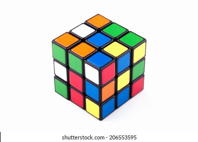ISTANBUL- TURKEY - JULY 13, 2014: Rubik's cube on the white background. Rubik's Cube on a white background. Rubik's Cube invented by a Hungarian architect Erno Rubik in 1974.