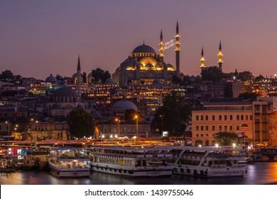 Istanbul, Turkey - July 14 2018: Suleymaniye Mosque (Ottoman imperial mosque). Cityscape of Istanbul at sunset.