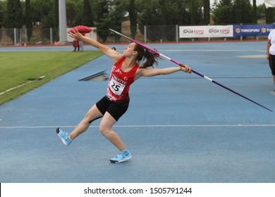 ISTANBUL, TURKEY - JULY 14, 2019: Undefined javelin throwing during Balkan U18 Athletics Championships