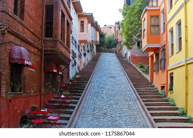 ISTANBUL, TURKEY JULY 15 2018: Colorful Houses in old city Balat. July 15 in Istanbul, Turkey.