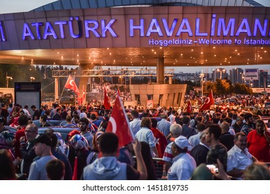 ISTANBUL, TURKEY - JULY 15, 2019: On the third anniversary of the July 15 coup attempt, the Turkish nation are rally in Ataturk Airport.