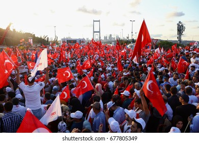 ISTANBUL, TURKEY -JULY 15: Istanbul during a rally against failed military coup on July 15 on August 07, 2016 in Istanbul, Turkey.