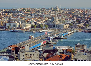 ISTANBUL, TURKEY - JULY 16, 2013 : Panoramic view of Bosphorus from Galata Tower. Tourists visit it for this great panoramic view of Istanbul.