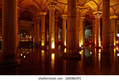 ISTANBUL, TURKEY - JULY 16, 2014: Yerebatan Saray - Basilica Cistern in Istanbul, Turkey. Yerebatan Saray is one of favorite tourist attraction in Istanbul