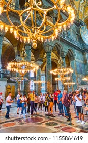 Istanbul, Turkey - July 16, 2018: Guided group of sightseers in The Hagia Sophia (Ayasofya) in Istanbul