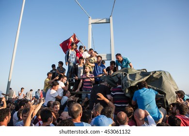 ISTANBUL, TURKEY - JULY 16:A military coup attempt plunged Turkey into a long night of violence and intrigue on July 16, 2016 in Istanbul, Turkey.