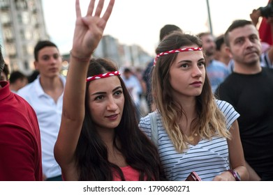 Istanbul, Turkey. July 18th 2016.Turkish pro government supporters gather in Takism square after an attempted coup d'etat, Istanbul, Turkey.