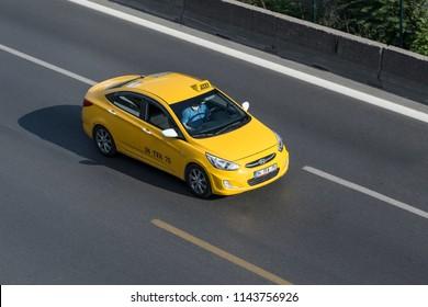 ISTANBUL, TURKEY - JULY 20: Turkish taxi on the way, July 20, 2018 in Istanbul. 22,000 Istanbul taxi routes are on duty.